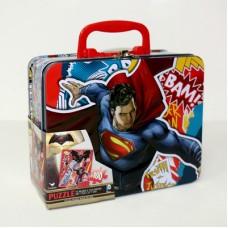 פאזל 100 חלקים בקופסת פח - באטמן נגד סופרמן